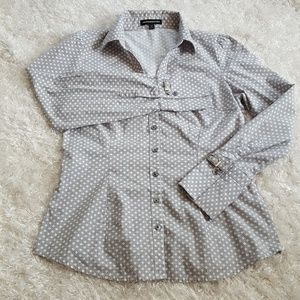 Express grey & white stripped polkadot dress shirt
